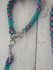 Handmade Rope Dog Collar Pink and cyan with whipping - Collared Creatures