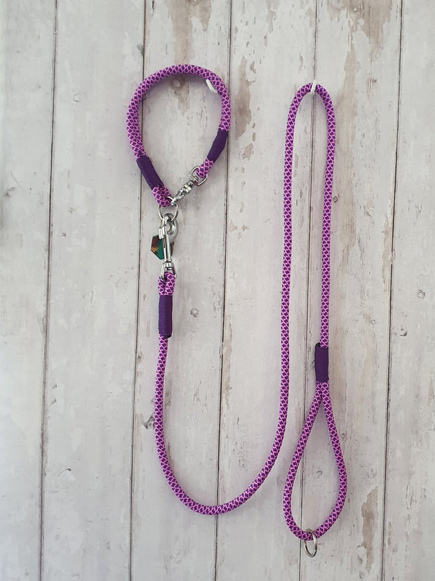 handmade-rope-dog-collar-purple-rose-pink-diamonds-with-whipping