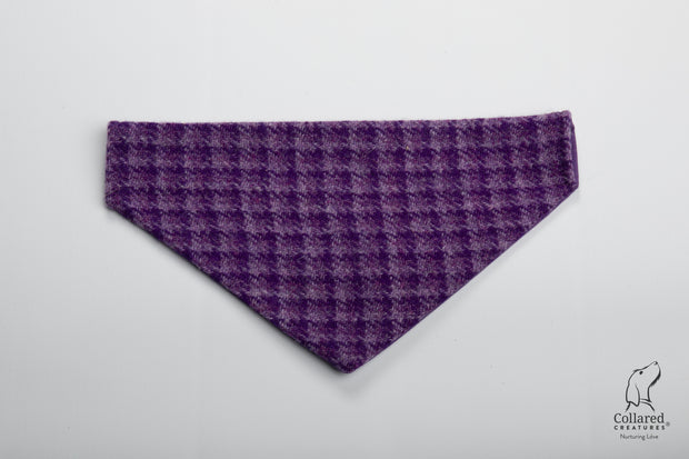 product photo of collared creatures purple dream check luxury Harris Tweed dog bandana