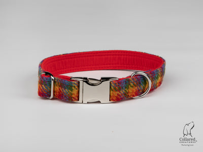 Collared Creatures Rainbow Check Harris Tweed Luxury Dog Collar