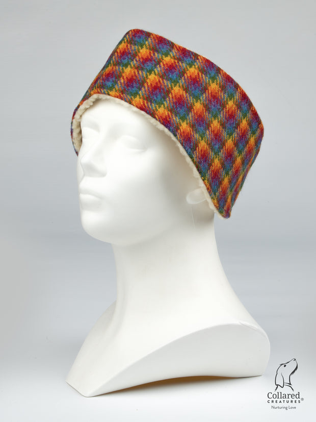 Collared Creatures Rainbow Check Ladies Harris Tweed Headband