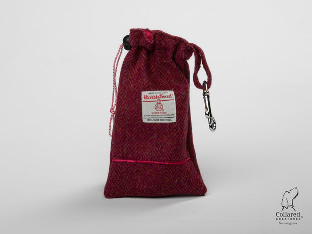 product photo of collared creatures raspberry & coral Harris Tweed dog treat bag