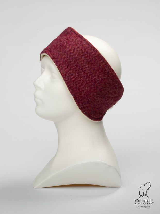 product photo of collared creatures raspberry & coral Harris Tweed ladies headband