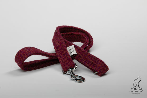 product photo of collared creatures raspberry & coral Harris Tweed dog lead