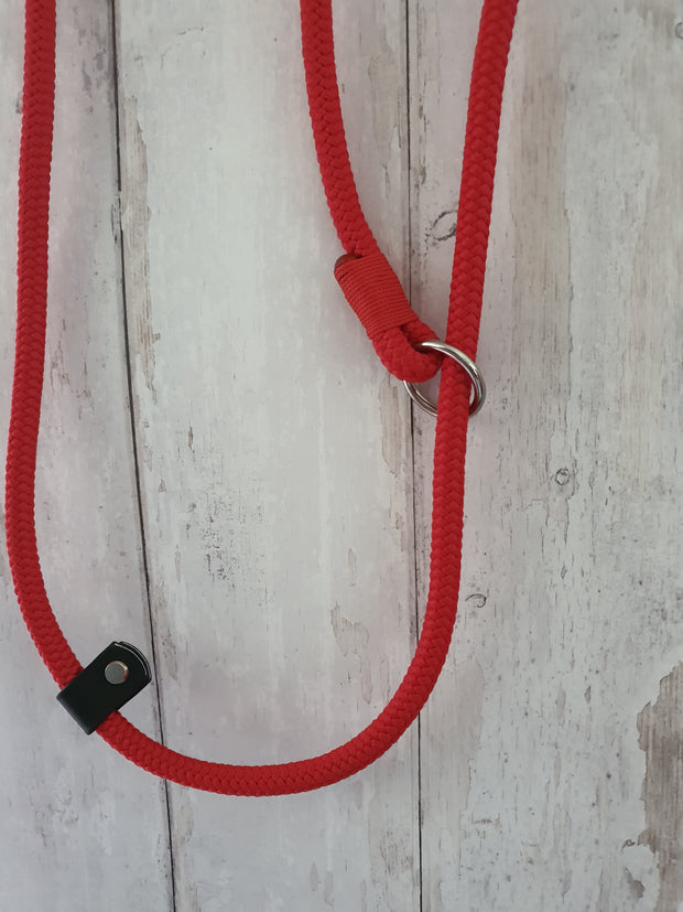 Handmade Rope slip lead Red - Collared Creatures