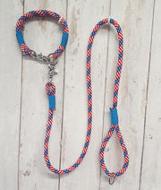handmade Rope Dog Collar, stars & stripes with whipping - Collared Creatures