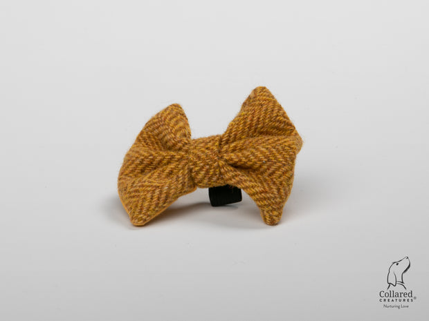 Collared Creatures Sunflower Herringbone Harris Tweed Luxury Dog Bow Tie