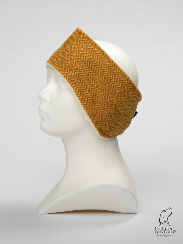 Collared Creatures Sunflower Herringbone Harris Tweed Luxury Ladies Headband