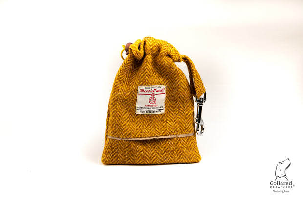 Collared Creatures Sunflower Herringbone Harris Tweed Luxury Dog Treat Bag