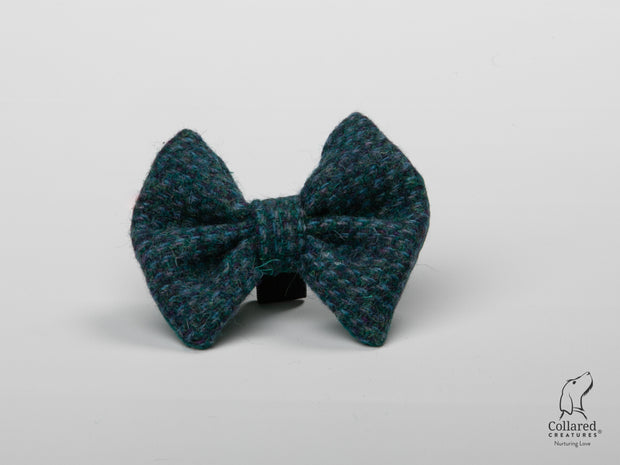 product photo of collared creatures Teal with a touch of blue Harris Tweed luxury dog bow tie