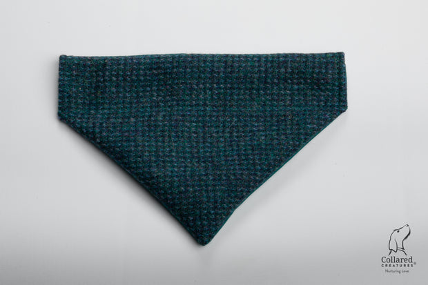 product photo of collared creatures Teal with a touch of blue Harris Tweed luxury dog bandana