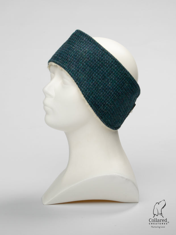product photo of collared creatures Teal with a touch of blue Harris Tweed luxury ladies headband