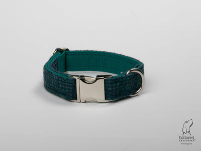 product photo of collared creatures Teal with a touch of blue Harris Tweed luxury dog collar