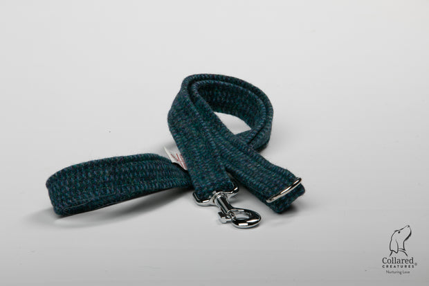 product photo of collared creatures Teal with a touch of blue Harris Tweed luxury dog lead