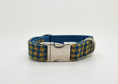 Teal And Yellow Houndstooth Harris Tweed Luxury Dog Collar - Collared Creatures