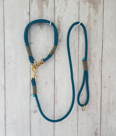 Handmade Rope Dog Collar  Deep turquoise  with whipping - Collared Creatures