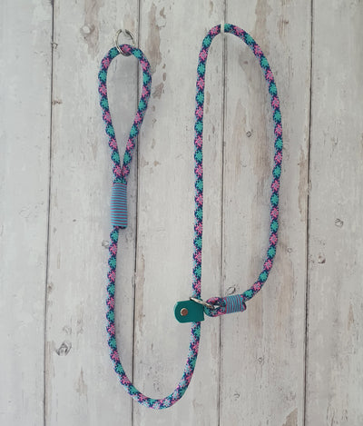 Handmade Rope slip lead pink and cyan - Collared Creatures