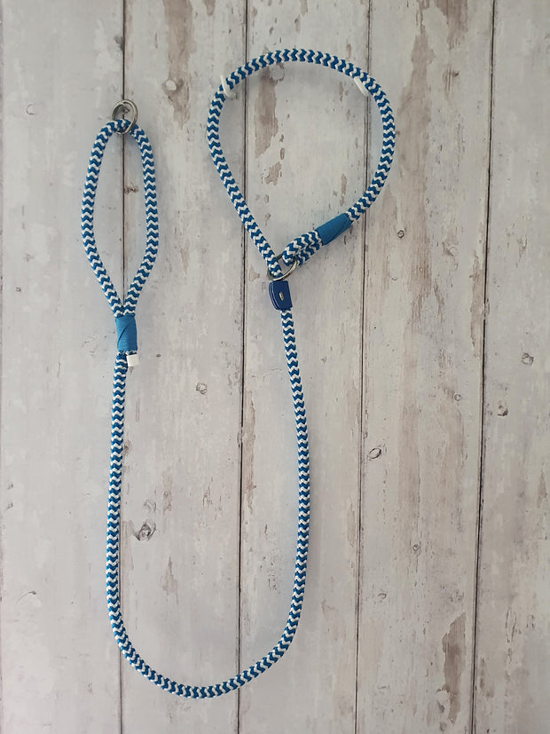 Handmade Rope Slip Lead Blue And White