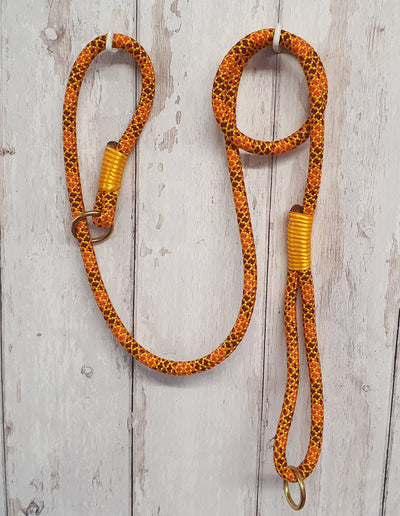 Handmade Rope Dog Collar orange & yellow with whipping - Collared Creatures