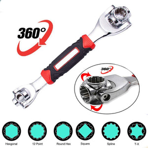 Universal Wrench 48 Tools in One Socket, 360 Degree Revolving Spanner, Works with Spline Bolts,Torx,Square Damaged Bolts and Any Size Standard or Metric
