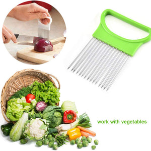 All-In-One Onion Holder, Stainless Steel Holder for Odor Remover Onion Slicing Tomato Potato Slicer Vegetable Chopper Fruits Cutter Safety Cooking Tools Aid Gadget (Green)