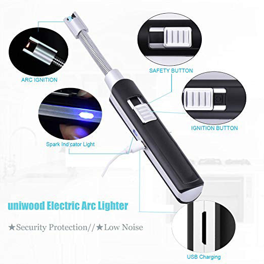 USB Electric Arc Lighter, Rechargeable Flameless Windproof Plasma 360° Flexible Elbow More Than 1000 Times Silence Spark with Safety Case for BBQ Stovetops Fireworks Camping