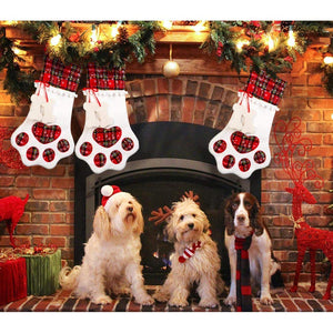Pet Dog Christmas Stocking Hanging Christmas Stocking with Large Paw for Christmas Decorations, 18 x 11 Inches