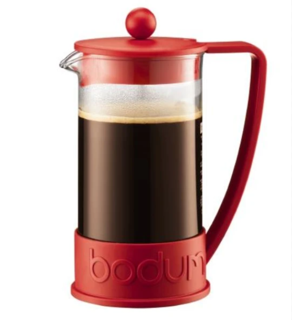 BODUM BRAZIL FRENCH PRESS COFFEE MAKER, 3 CUP, 0.35 L, 12 OZ - RED