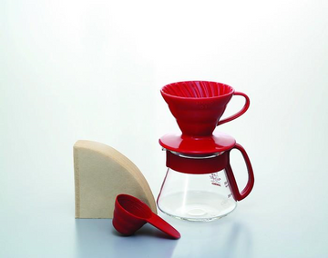 Hario V60 Ceramic Red Dripper and Pot