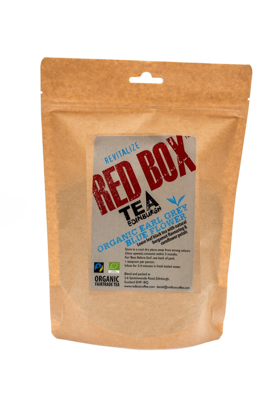 Red Box Tea Organic Earl Grey Blue Flower Bags