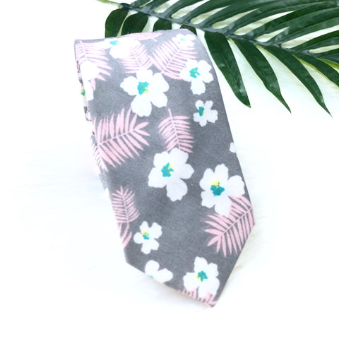 Grey Tropical Print Tie