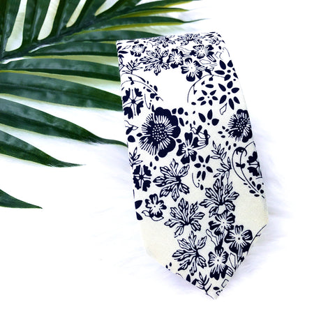 White and Navy Floral Tie