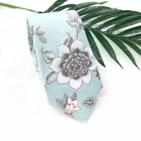 Light Blue Floral Tie