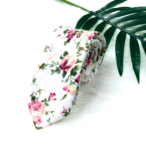 Rose Floral White Tie
