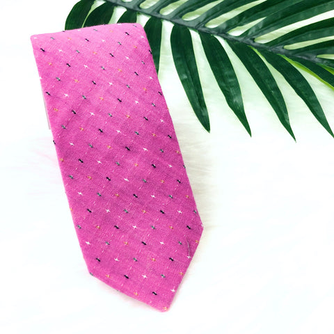 Pink Textured Stitch Tie