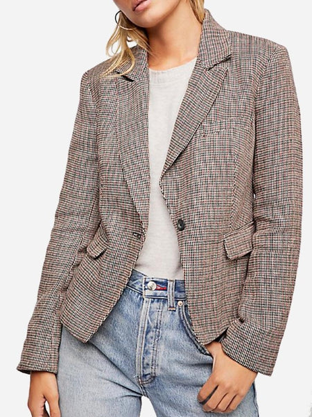Free People Chess Blazer in Garnet