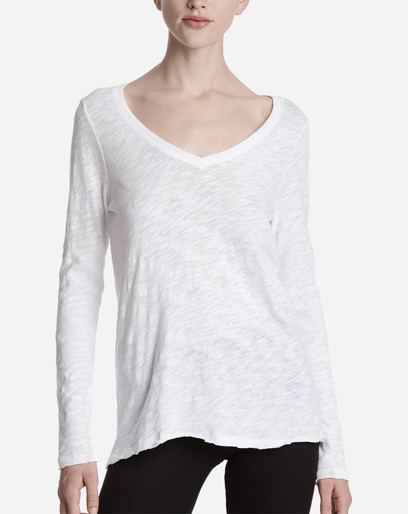 Long Sleeve V-Neck Slub in White