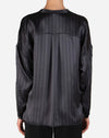 Silk Striped Shirt in Asphalt/Black Combo