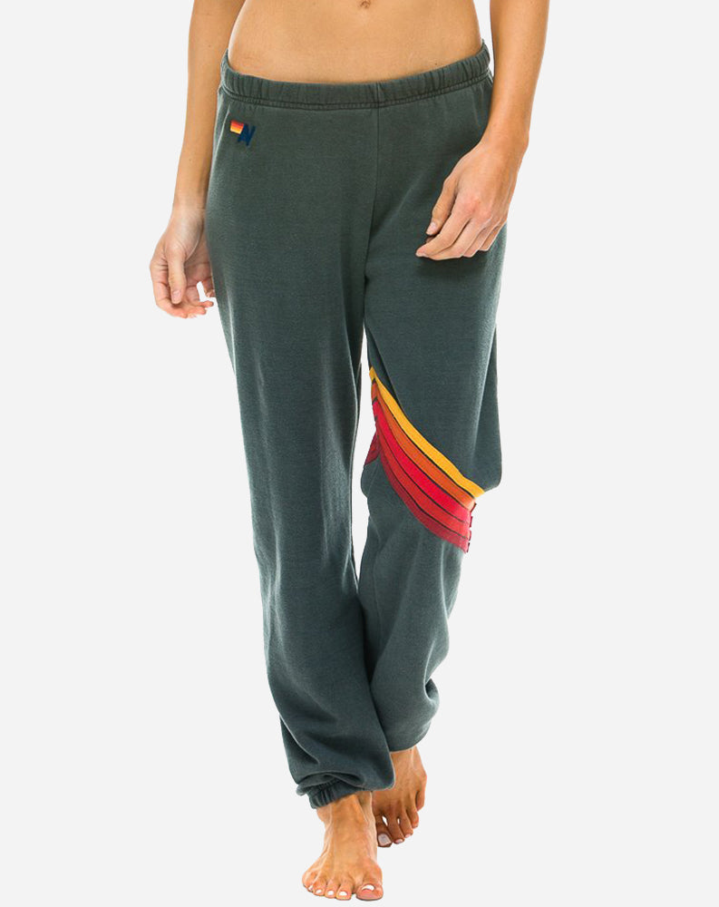 Chevron Sweatpants in Dark Grey/Rainbow Stripes