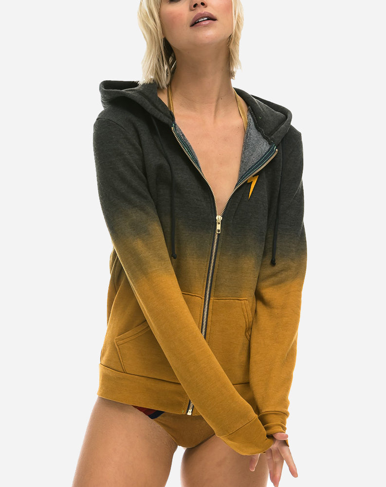 Faded Bolt Zip Hoodie in Nugget Gold/Charcoal