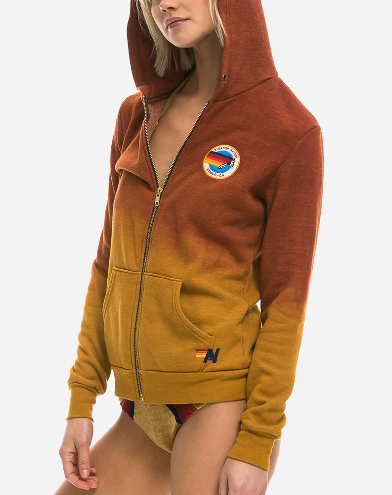 Faded Surfer Zip Hoodie in Nugget Gold/Red
