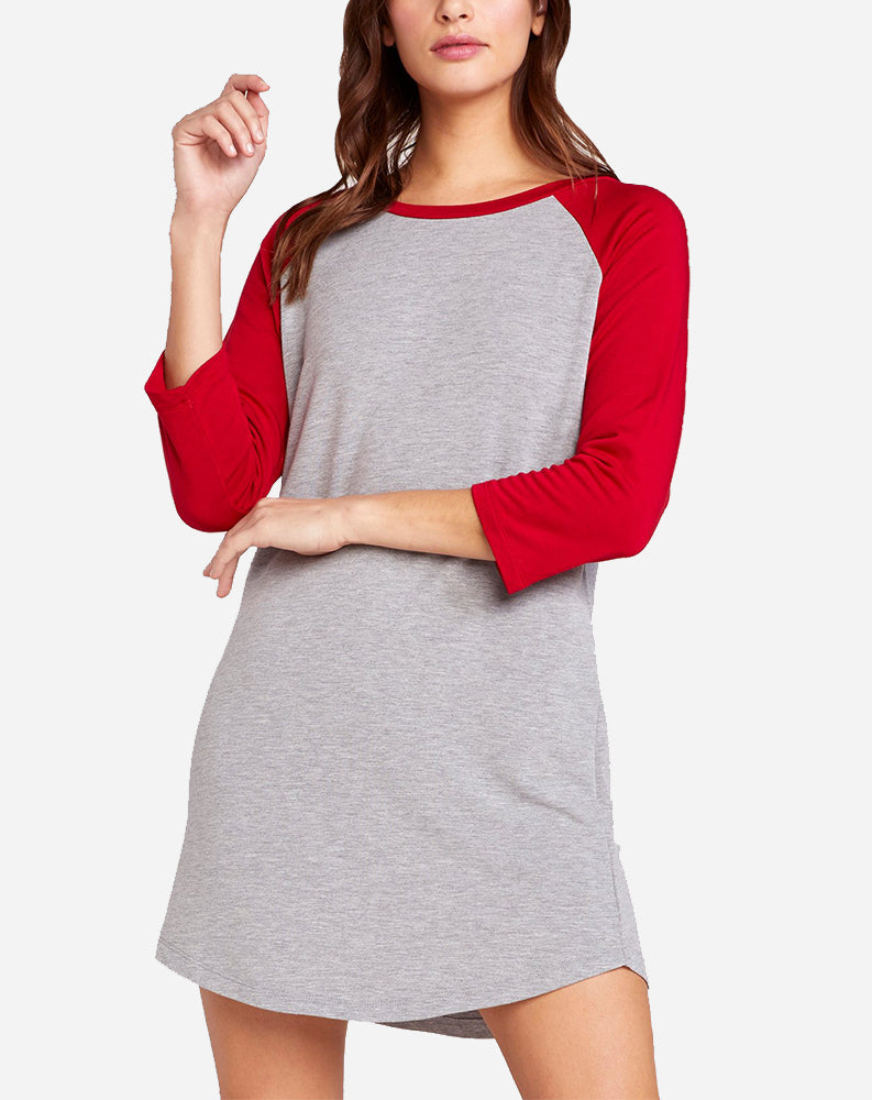 7th Inning Stretch Raglan T-Shirt Dress in Light Heather Grey