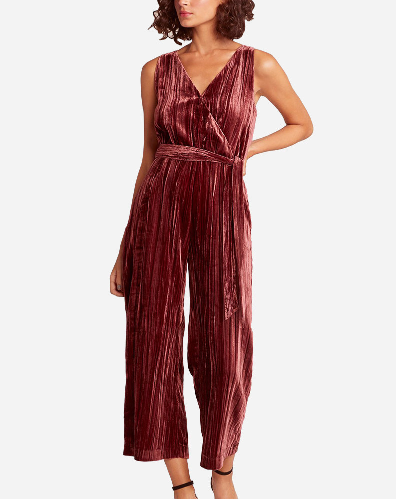 Best Of My Love Velvet Jumpsuit in Bordeaux