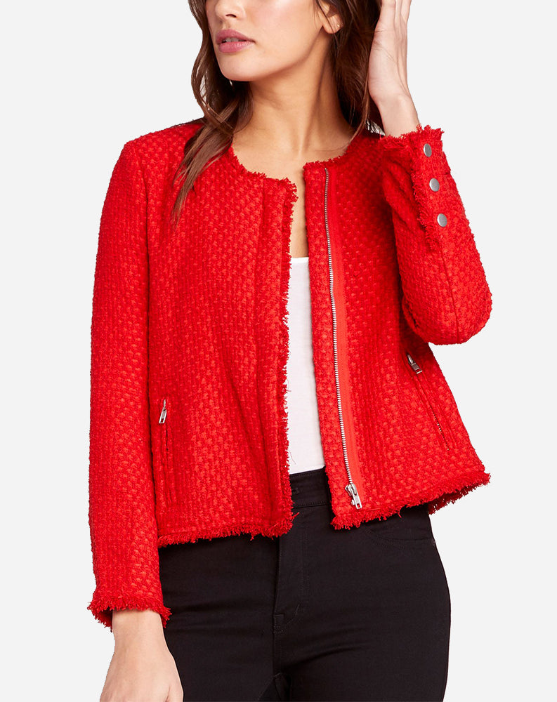Feeling Fancy Cropped Jacket in Berry Red