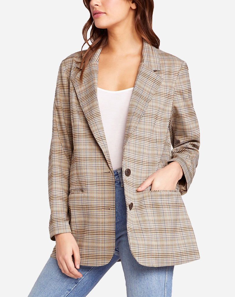 Heathers Plaid Blazer in Cobblestone