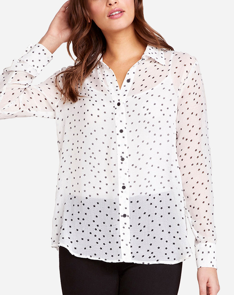 Interstellar Button Down in Ivory Stars