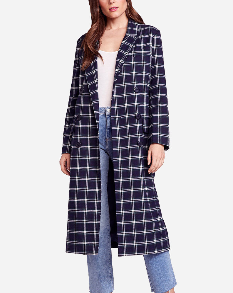 Top Notch Plaid Trench Coat in Vintage Blue