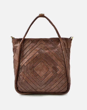 Monserat De Lucca Benecio Leather Patchwork Tote in Brown