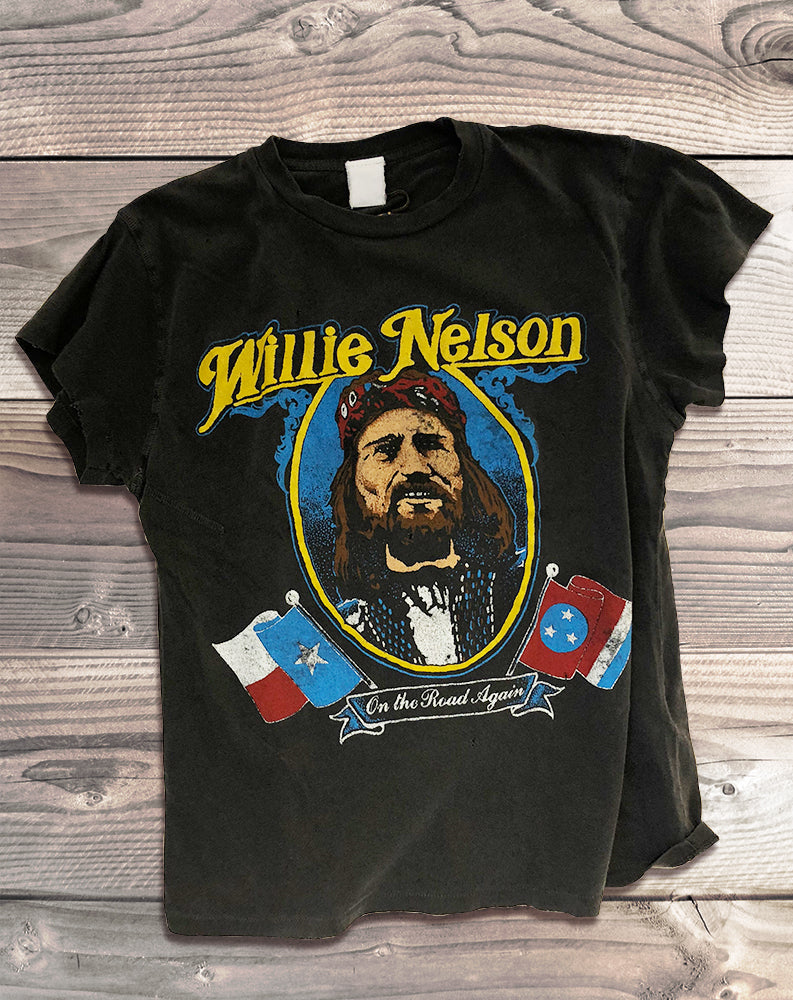 Willie Nelson On The Road Again Tee in Black Pigment
