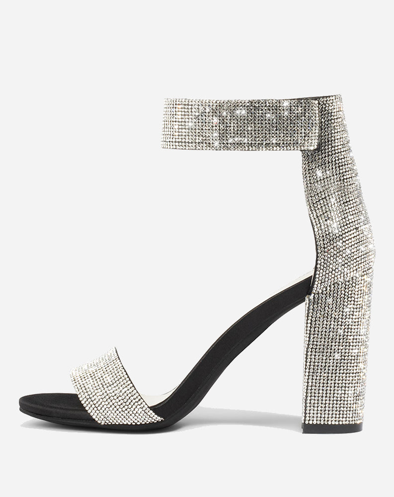 Lindsay Jeweled Strap in Black Satin Silver
